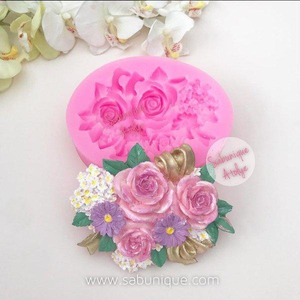 Fiyonklu çiçekli Süslemeli çiçek Demeti Silikon Kalıbı Sabunique